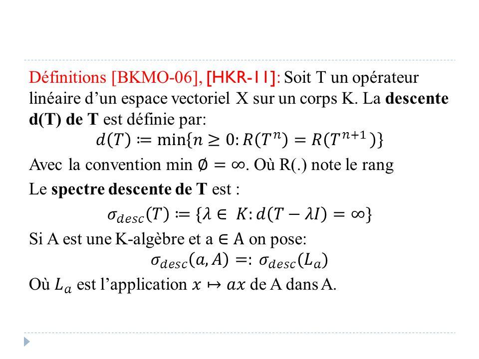 Définitions [BKMO-06], [HKR-11]: Soit T un opérateur linéaire d'un espace vectoriel X sur un corps K.